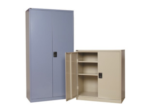 Multi-purpose stationary moduline shelving cabinets
