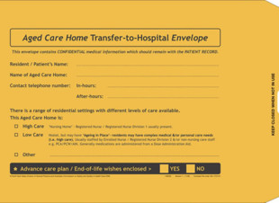 Resident Transfer to Hospital Envelope