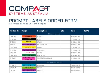 Prompt Labels Order Form